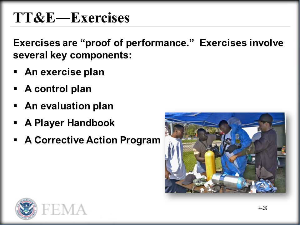 """TT&E―Exercises Exercises are """"proof of performance."""" Exercises involve several key components:  An exercise plan  A control plan  An evaluation pla"""