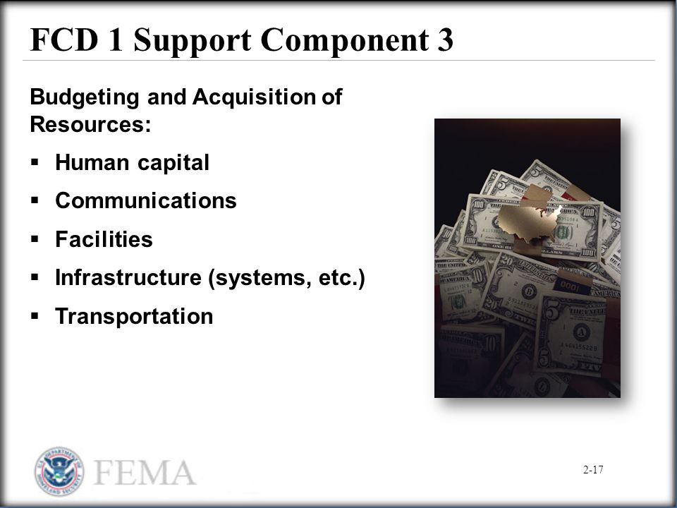 FCD 1 Support Component 3 Budgeting and Acquisition of Resources:  Human capital  Communications  Facilities  Infrastructure (systems, etc.)  Tra