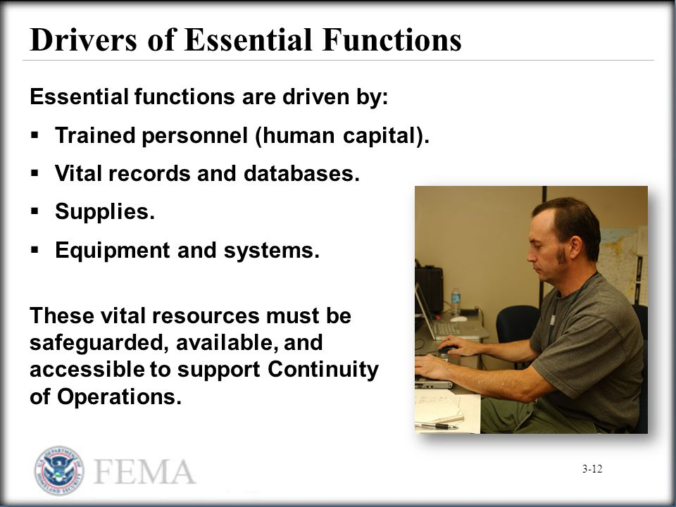 Drivers of Essential Functions Essential functions are driven by:  Trained personnel (human capital).  Vital records and databases.  Supplies.  Eq
