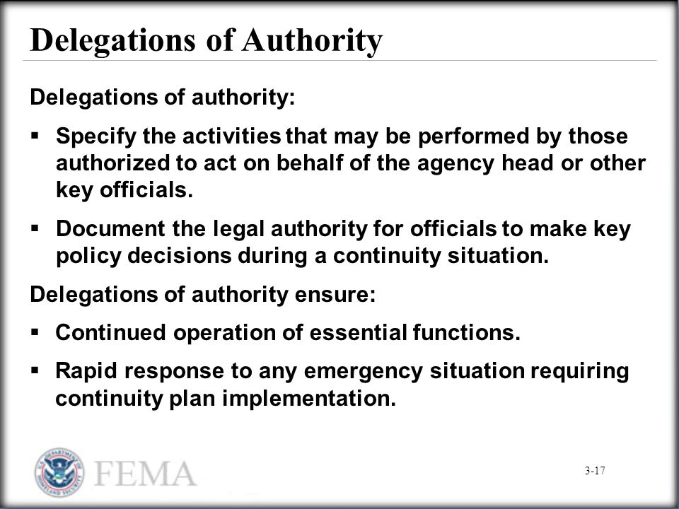 Delegations of Authority Delegations of authority:  Specify the activities that may be performed by those authorized to act on behalf of the agency h