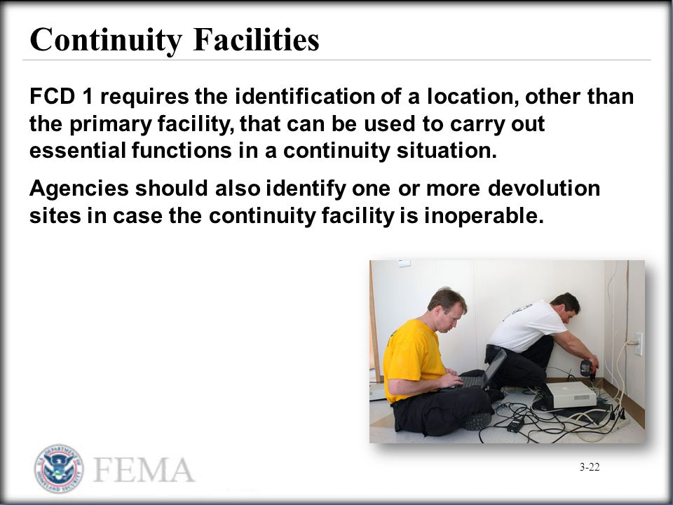 Continuity Facilities FCD 1 requires the identification of a location, other than the primary facility, that can be used to carry out essential functi