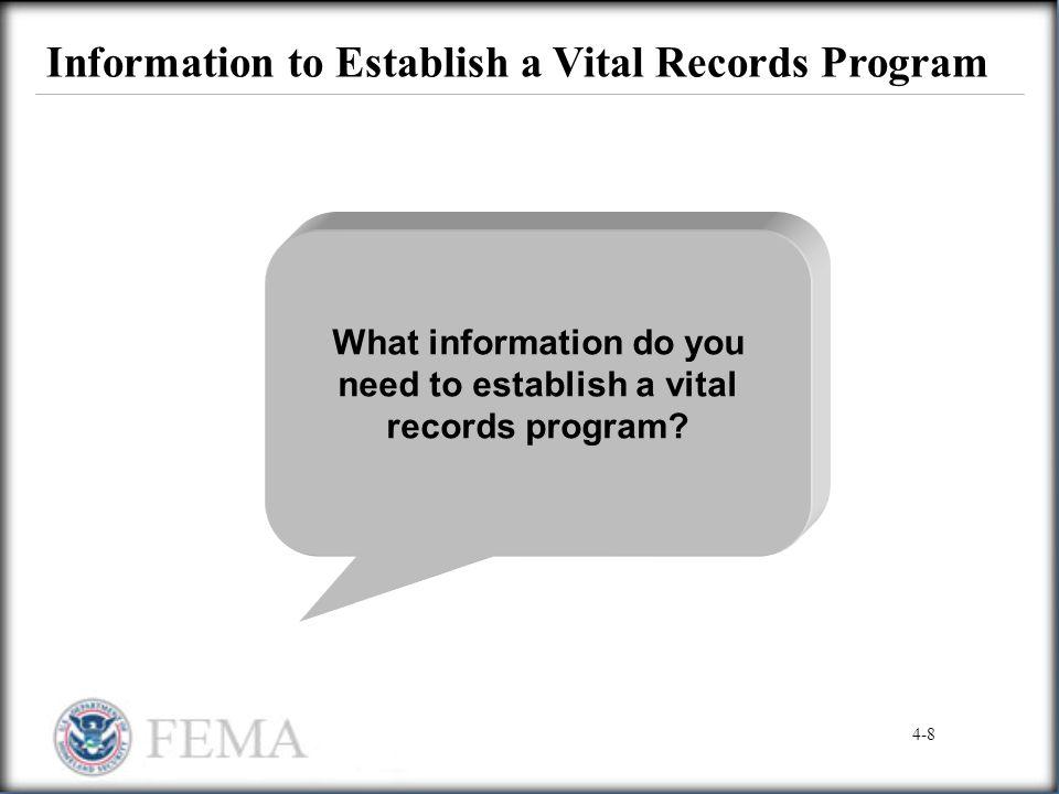Information to Establish a Vital Records Program What information do you need to establish a vital records program? 4-8