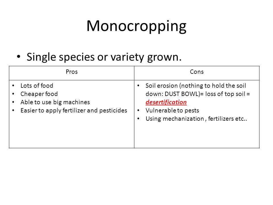 Monocropping Single species or variety grown. ProsCons Lots of food Cheaper food Able to use big machines Easier to apply fertilizer and pesticides So