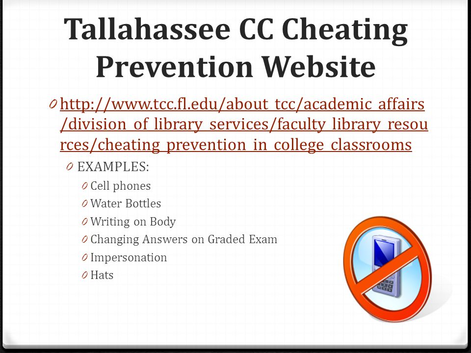 Tallahassee CC Cheating Prevention Website 0 http://www.tcc.fl.edu/about_tcc/academic_affairs /division_of_library_services/faculty_library_resou rces