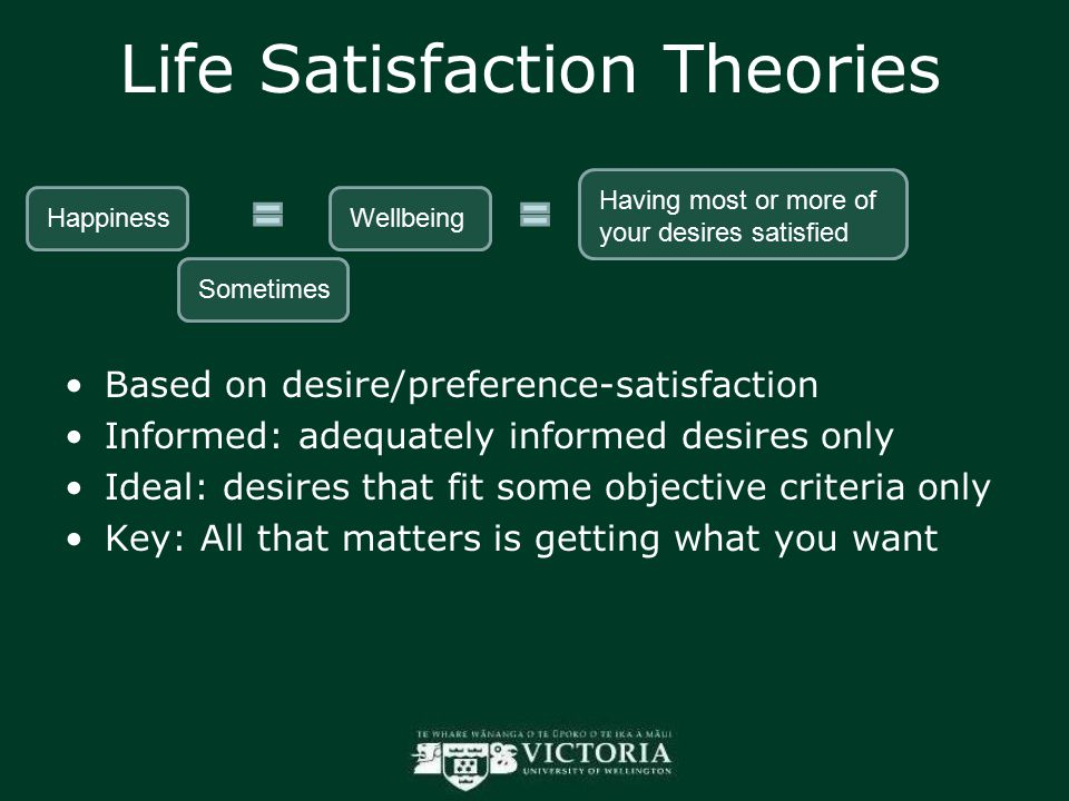Life Satisfaction Theories Based on desire/preference-satisfaction Informed: adequately informed desires only Ideal: desires that fit some objective c