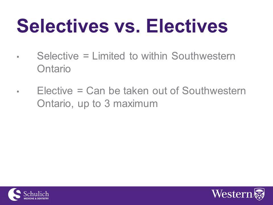 Selectives vs.