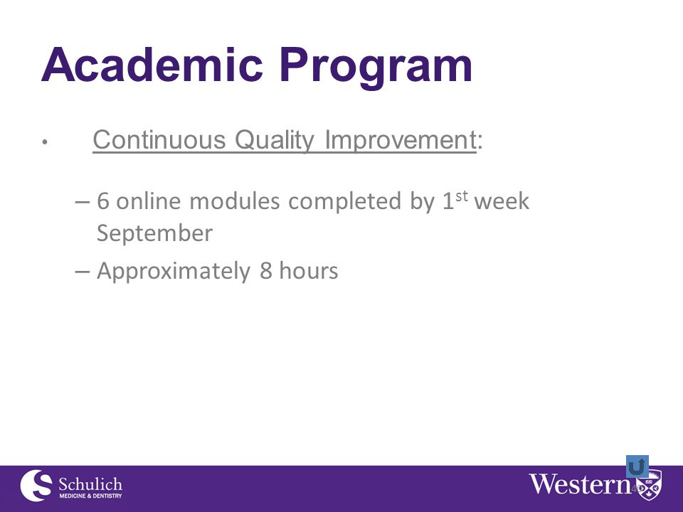 Academic Program Continuous Quality Improvement: – 6 online modules completed by 1 st week September – Approximately 8 hours 40