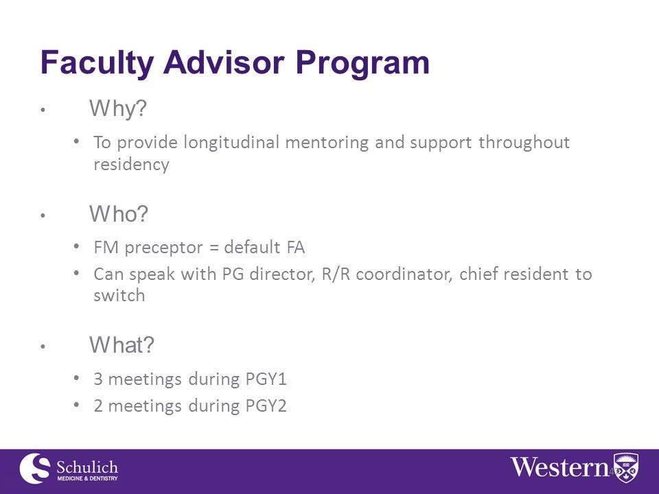 Faculty Advisor Program Why.