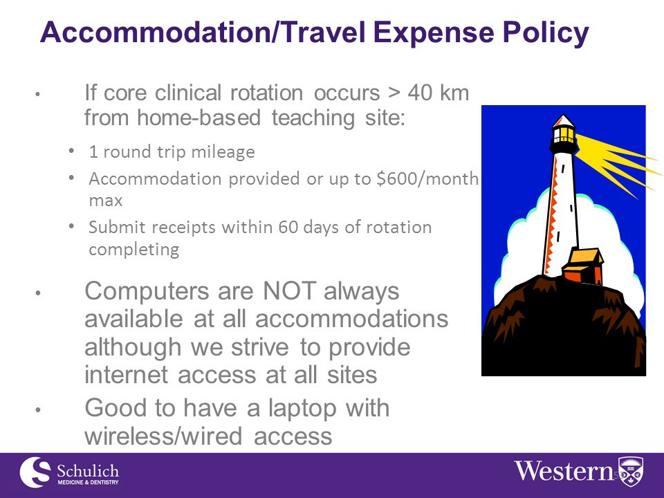 Accommodation/Travel Expense Policy If core clinical rotation occurs > 40 km from home-based teaching site: 1 round trip mileage Accommodation provided or up to $600/month max Submit receipts within 60 days of rotation completing Computers are NOT always available at all accommodations although we strive to provide internet access at all sites Good to have a laptop with wireless/wired access 53