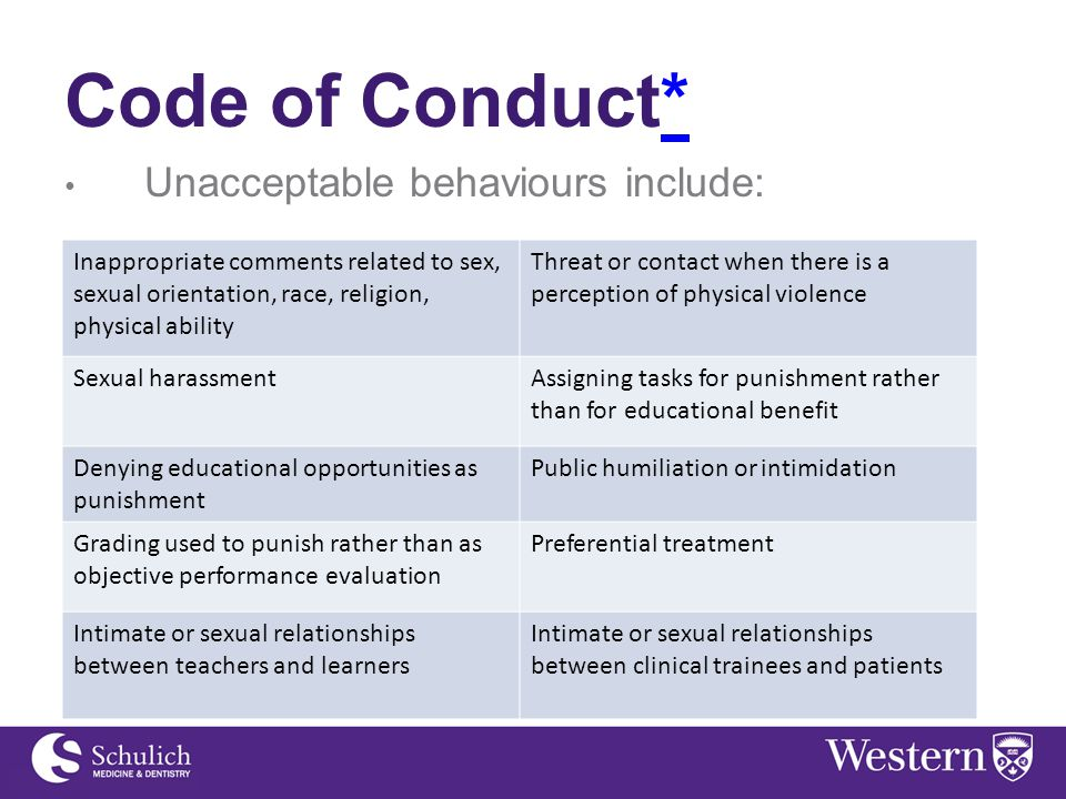 Code of Conduct** Unacceptable behaviours include: Inappropriate comments related to sex, sexual orientation, race, religion, physical ability Threat or contact when there is a perception of physical violence Sexual harassmentAssigning tasks for punishment rather than for educational benefit Denying educational opportunities as punishment Public humiliation or intimidation Grading used to punish rather than as objective performance evaluation Preferential treatment Intimate or sexual relationships between teachers and learners Intimate or sexual relationships between clinical trainees and patients