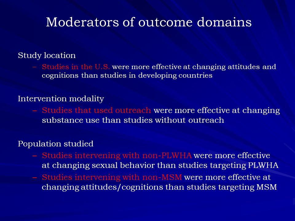 Moderators of outcome domains Study location – –Studies in the U.S.