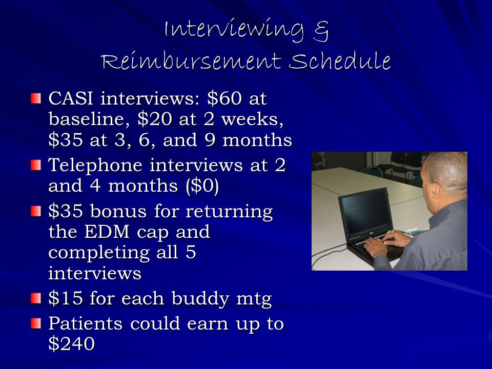 Interviewing & Reimbursement Schedule CASI interviews: $60 at baseline, $20 at 2 weeks, $35 at 3, 6, and 9 months Telephone interviews at 2 and 4 months ($0) $35 bonus for returning the EDM cap and completing all 5 interviews $15 for each buddy mtg Patients could earn up to $240