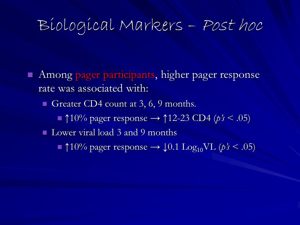 Biological Markers – Post hoc Among pager participantshigher pager response rate was associated with: Among pager participants, higher pager response rate was associated with: Greater CD4 count at 3, 6, 9 months.