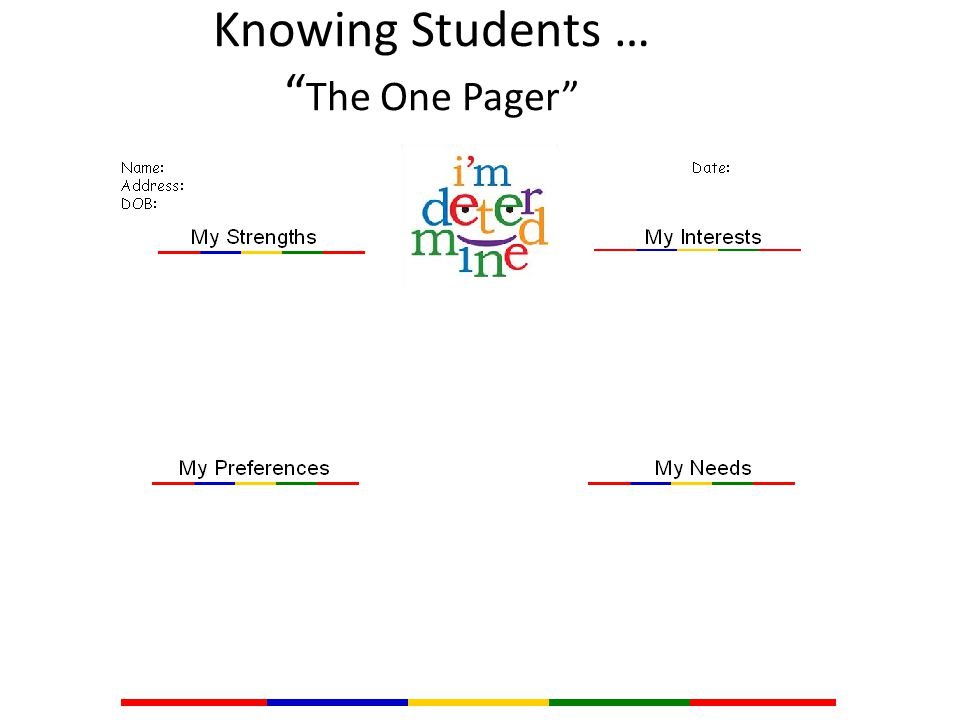 Knowing Students … The One Pager