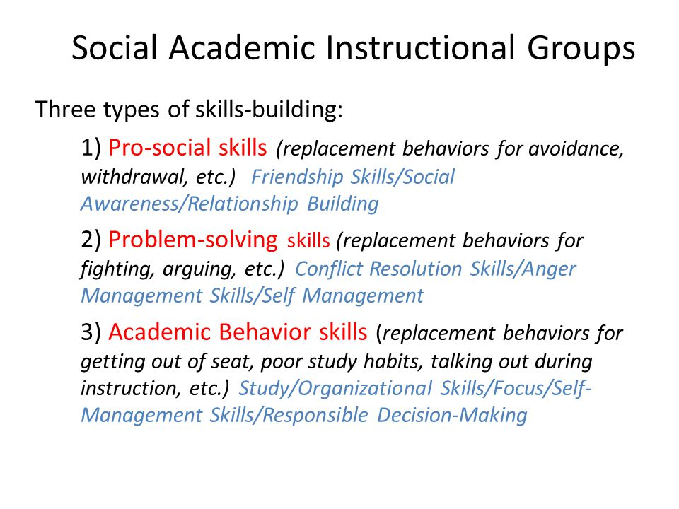 Social Academic Instructional Groups Three types of skills-building: 1) Pro-social skills (replacement behaviors for avoidance, withdrawal, etc.) Friendship Skills/Social Awareness/Relationship Building 2) Problem-solving skills (replacement behaviors for fighting, arguing, etc.) Conflict Resolution Skills/Anger Management Skills/Self Management 3) Academic Behavior skills (replacement behaviors for getting out of seat, poor study habits, talking out during instruction, etc.) Study/Organizational Skills/Focus/Self- Management Skills/Responsible Decision-Making