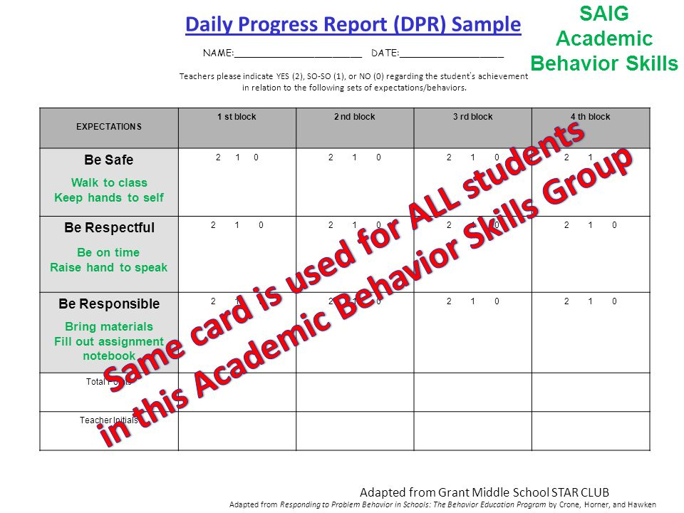 Daily Progress Report (DPR) Sample NAME:______________________ DATE:__________________ Teachers please indicate YES (2), SO-SO (1), or NO (0) regarding the student's achievement in relation to the following sets of expectations/behaviors.