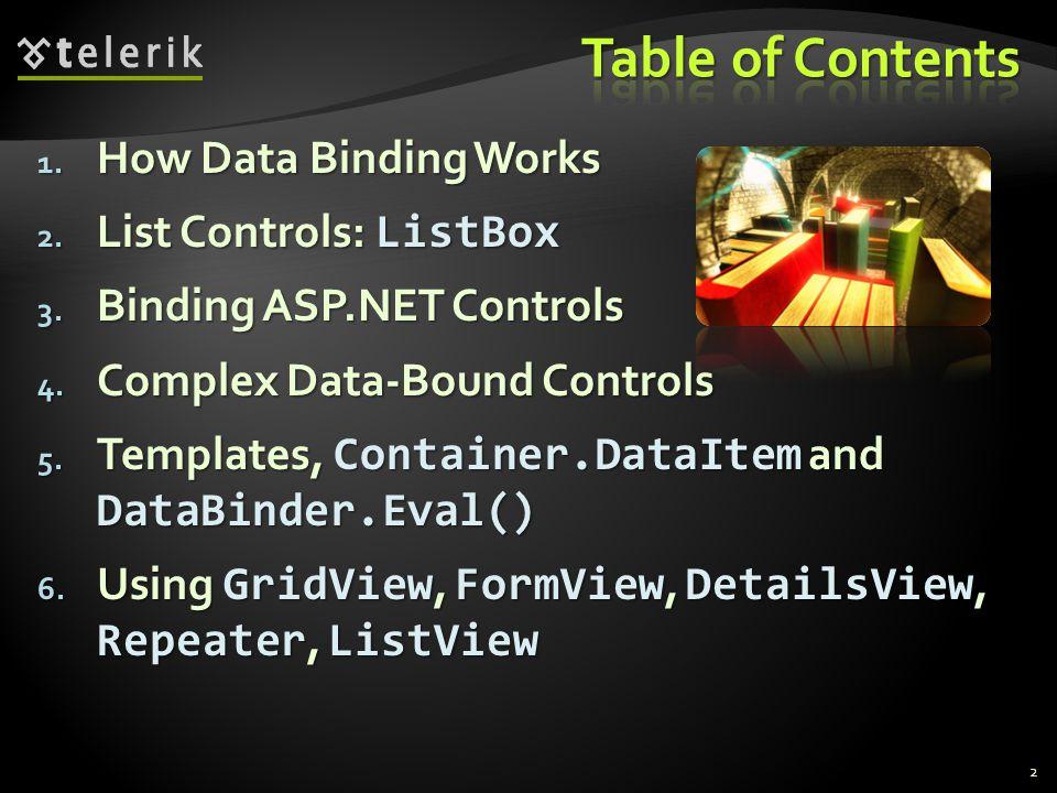  Abstract class ListControl is base class for all list controls  ListBox  DropDownList  BulletedList  CheckBoxList  RadioButtonList  … 13