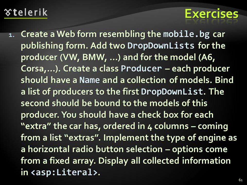 1. Create a Web form resembling the mobile.bg car publishing form.