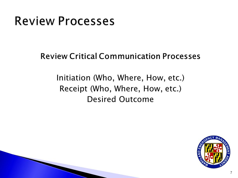 Review Critical Communication Processes Initiation (Who, Where, How, etc.) Receipt (Who, Where, How, etc.) Desired Outcome 7