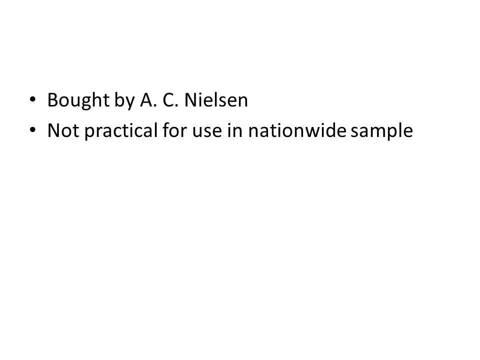Bought by A. C. Nielsen Not practical for use in nationwide sample