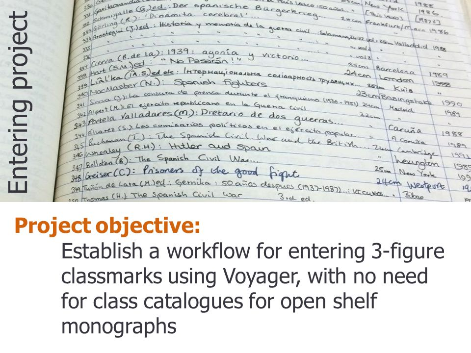 Project objective: Establish a workflow for entering 3-figure classmarks using Voyager, with no need for class catalogues for open shelf monographs Entering project