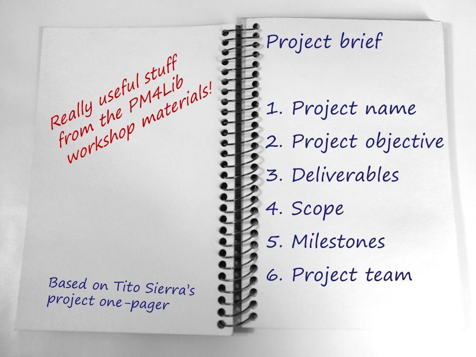 Project brief 1. Project name 2. Project objective 3. Deliverables 4. Scope 5. Milestones 6. Project team Based on Tito Sierra's project one-pager Rea