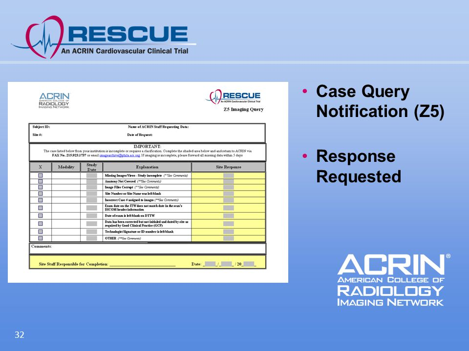 Case Query Notification (Z5) Response Requested 32