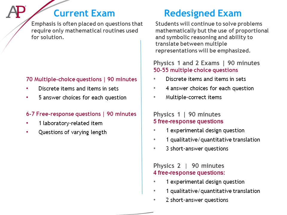 Current ExamRedesigned Exam Emphasis is often placed on questions that require only mathematical routines used for solution.