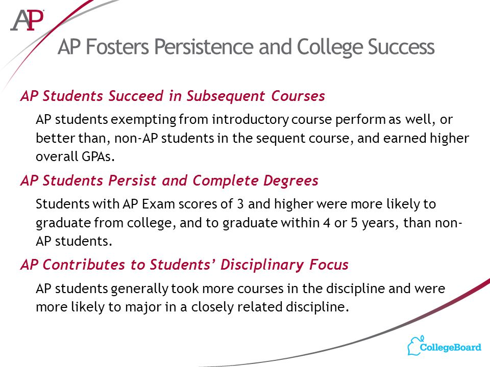 AP Fosters Persistence and College Success AP Students Succeed in Subsequent Courses AP students exempting from introductory course perform as well, or better than, non-AP students in the sequent course, and earned higher overall GPAs.