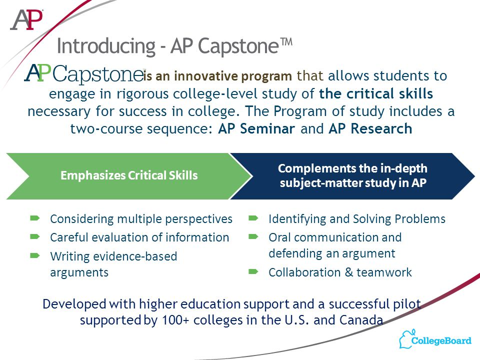 Introducing - AP Capstone™ Developed with higher education support and a successful pilot supported by 100+ colleges in the U.S. and Canada Emphasizes