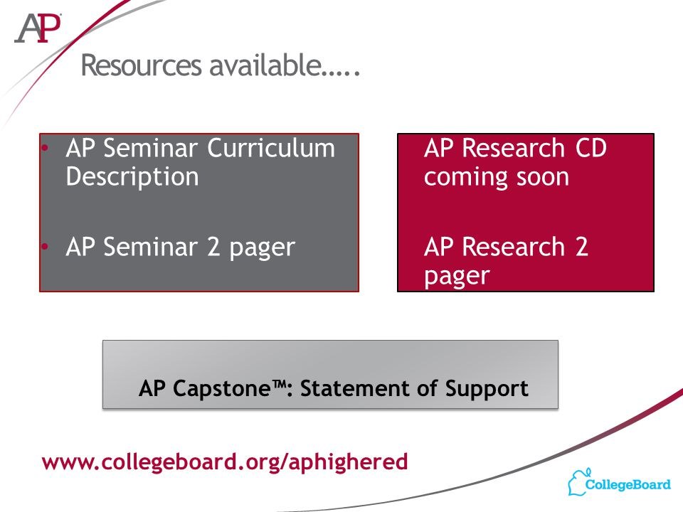 Resources available….. AP Capstone™: Statement of Support www.collegeboard.org/aphighered