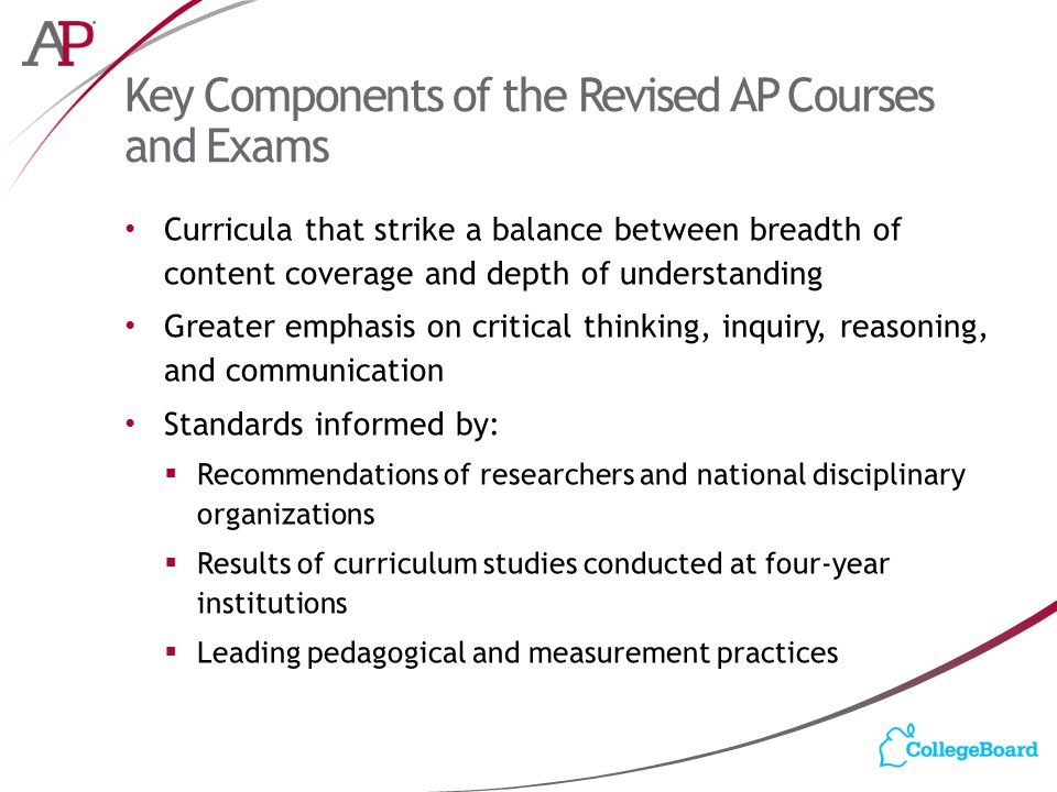 Key Components of the Revised AP Courses and Exams