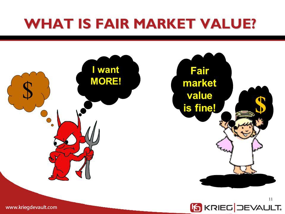 WHAT IS FAIR MARKET VALUE? 11 $ I want MORE! $ Fair market value is fine!