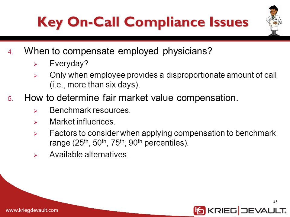 4. When to compensate employed physicians?  Everyday?  Only when employee provides a disproportionate amount of call (i.e., more than six days). 5.