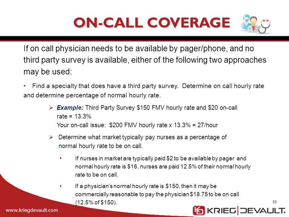 50 ON-CALL COVERAGE If on call physician needs to be available by pager/phone, and no third party survey is available, either of the following two app