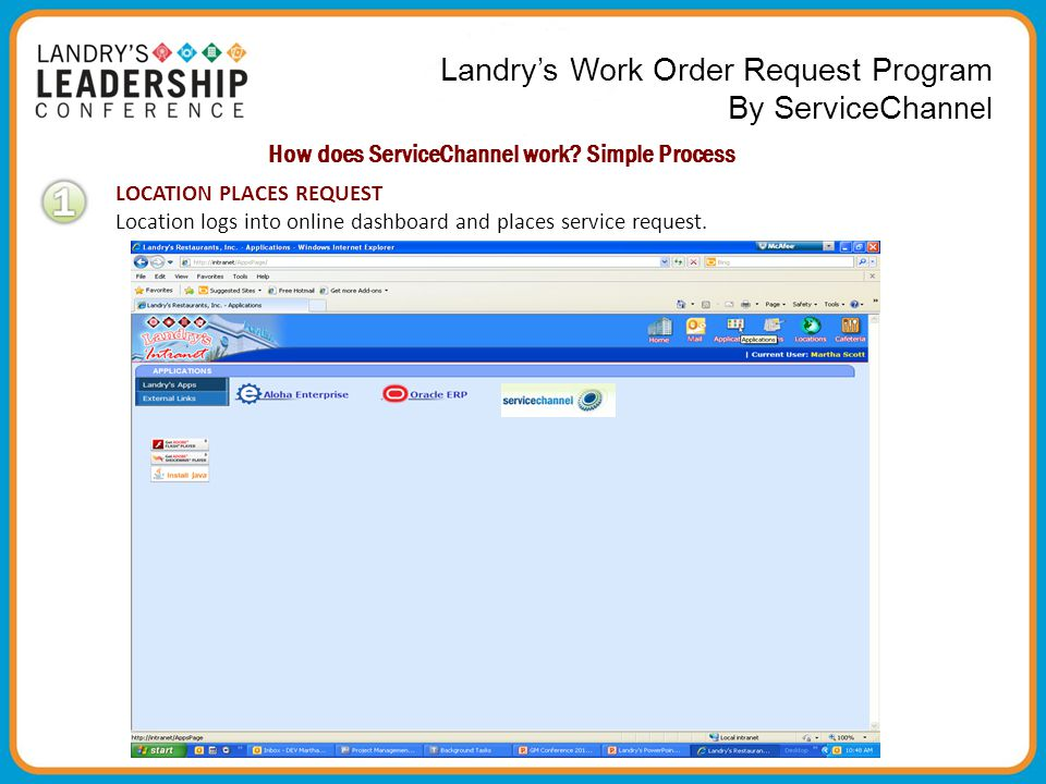 Landry's Work Order Request Program By ServiceCha nnel How does ServiceChannel work? Simple Process LOCATION PLACES REQUEST Location logs into online