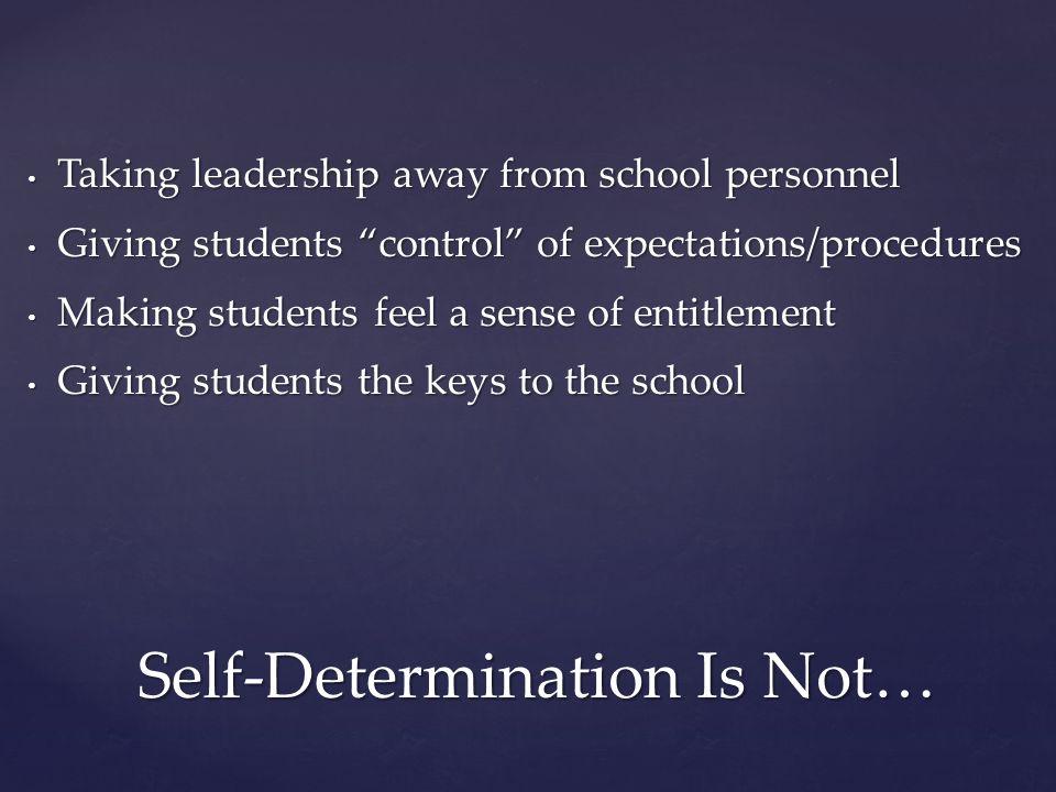 "Self-Determination Is Not… Taking leadership away from school personnel Taking leadership away from school personnel Giving students ""control"" of expe"