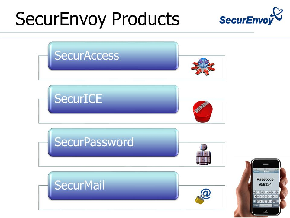 SecurEnvoy Products SecurAccessSecurICESecurPasswordSecurMail