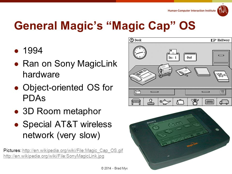 General Magic's Magic Cap OS 1994 Ran on Sony MagicLink hardware Object-oriented OS for PDAs 3D Room metaphor Special AT&T wireless network (very slow) © 2014 - Brad Myers 14 Pictures: http://en.wikipedia.org/wiki/File:Magic_Cap_OS.gifhttp://en.wikipedia.org/wiki/File:Magic_Cap_OS.gif http://en.wikipedia.org/wiki/File:SonyMagicLink.jpg