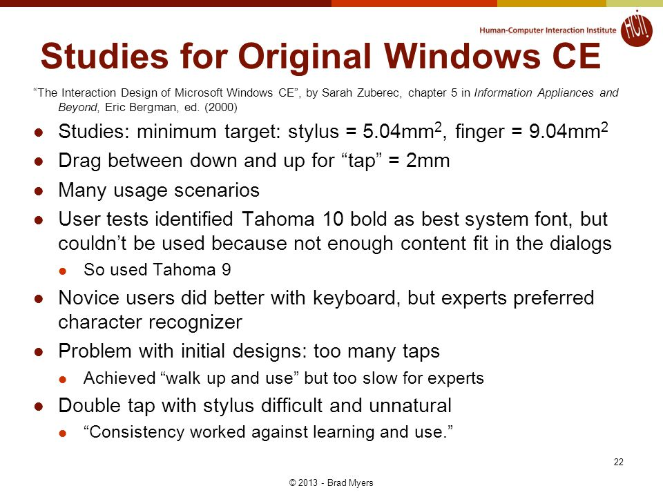 22 Studies for Original Windows CE The Interaction Design of Microsoft Windows CE , by Sarah Zuberec, chapter 5 in Information Appliances and Beyond, Eric Bergman, ed.