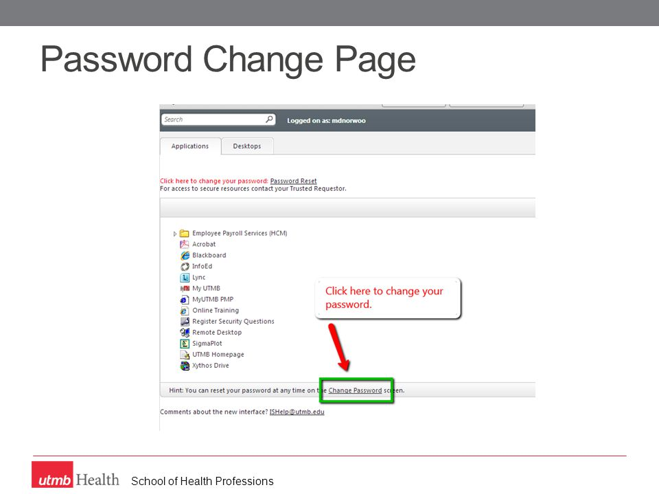 School of Health Professions Password Change Page