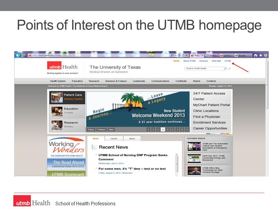 School of Health Professions Program and department website links