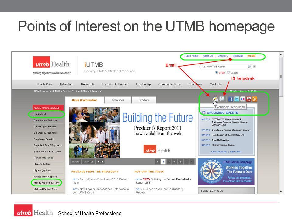 School of Health Professions Blackboard – Course menu