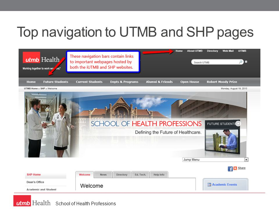 School of Health Professions Top navigation to UTMB and SHP pages