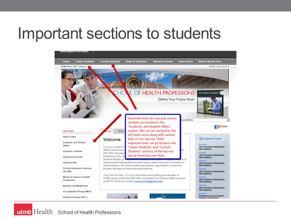 School of Health Professions Important sections to students
