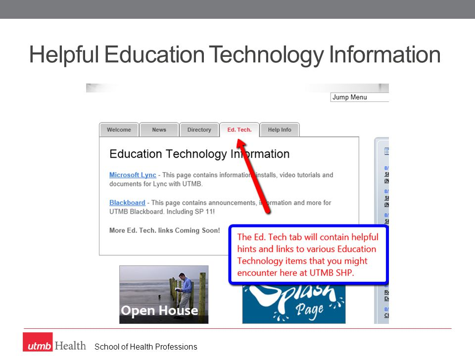 School of Health Professions Helpful Education Technology Information
