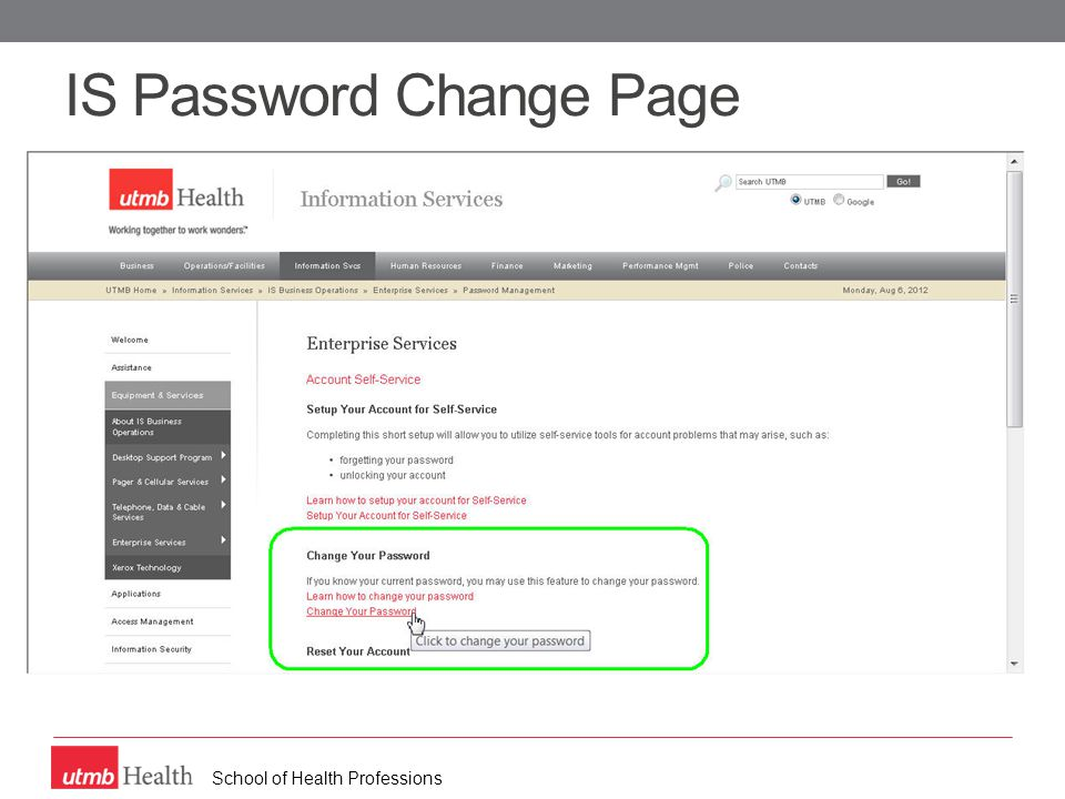 School of Health Professions IS Password Change Page