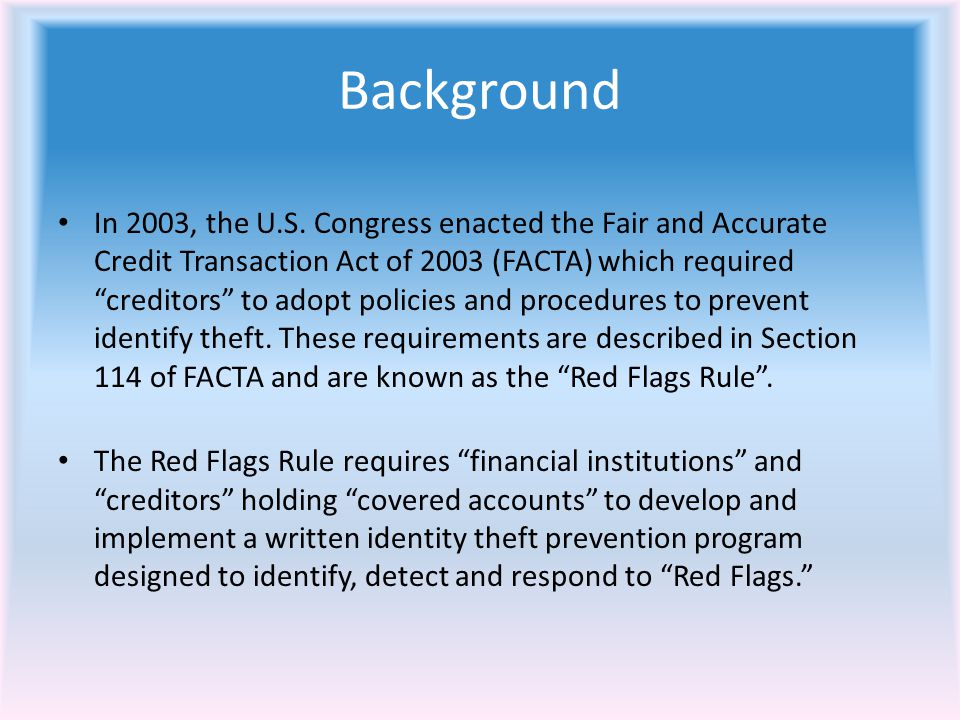 Background In 2003, the U.S.