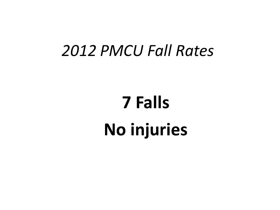 2012 PMCU Fall Rates 7 Falls No injuries