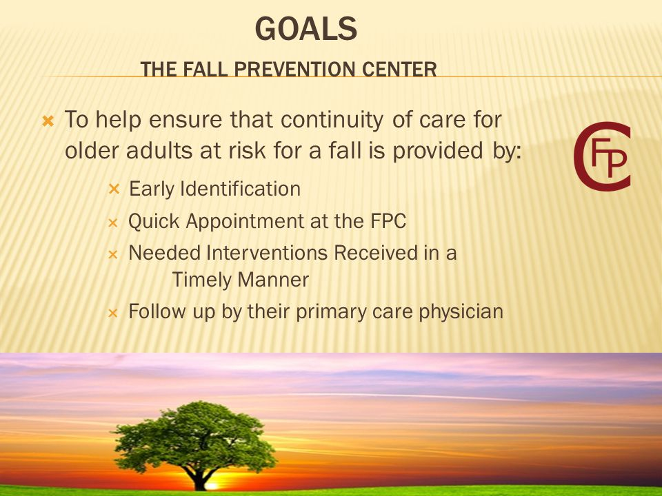  To help ensure that continuity of care for older adults at risk for a fall is provided by:  Early Identification  Quick Appointment at the FPC  Needed Interventions Received in a Timely Manner  Follow up by their primary care physician